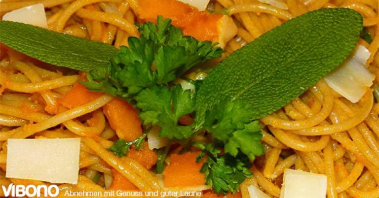 Energiedichte-Beispiel: Spaghetti mit Hokkaido-Kürbis