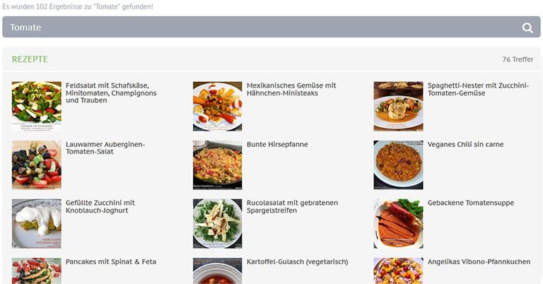 Die neue Suchfunktion auf der Vibono-Website