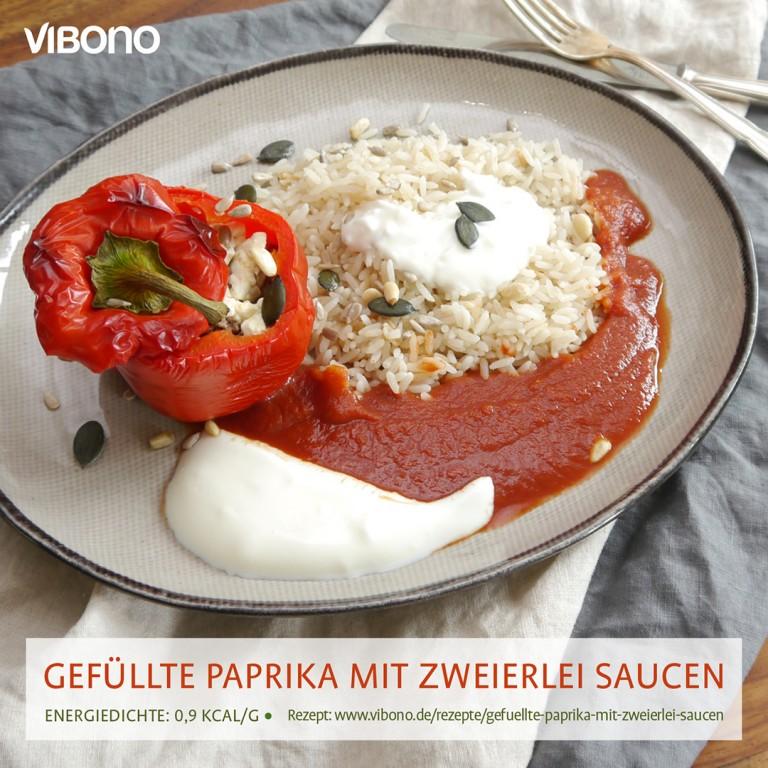 Gefüllte Paprika mit zweierlei Saucen