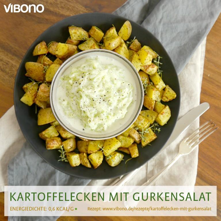 Kartoffelecken mit Gurkensalat