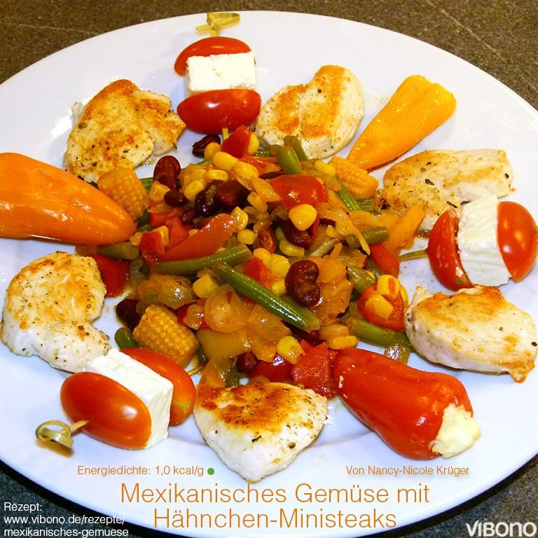 Mexikanisches Gemüse mit Hähnchen-Ministeaks