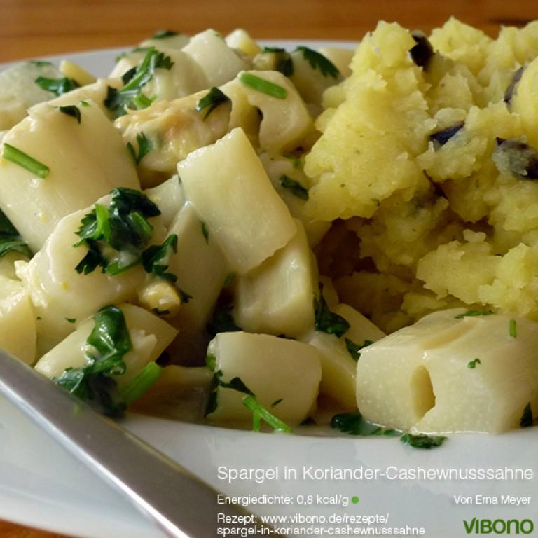 Spargel in Koriander-Cashewnusssahne mit mediterranem Kartoffelpüree