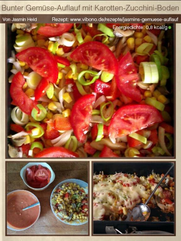 Bunter Gemüse-Auflauf mit Karotten-Zucchini-Boden