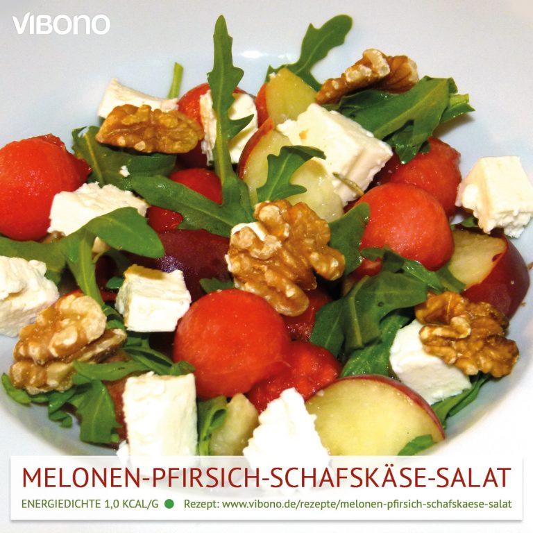 Melonen-Pfirsich-Schafskäse-Salat