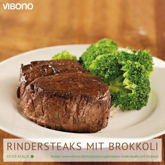 Kurzgebratene Rindersteaks mit Brokkoli