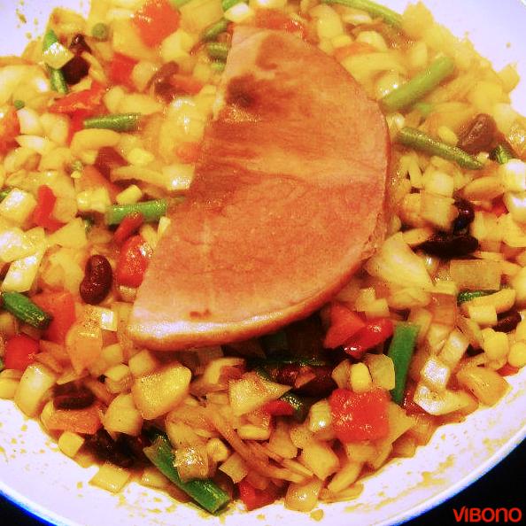 Kochschinken mit Mexiko-Gemüse