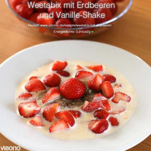 Weetabix mit Erdbeeren und Vanille-Shake