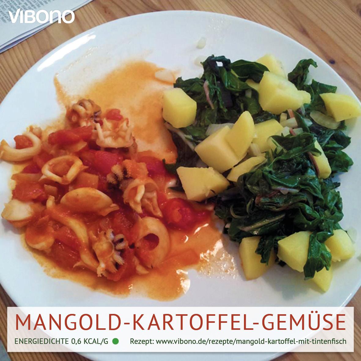 Mangold-Kartoffel-Gemüse mit Tintenfisch in Tomatensud