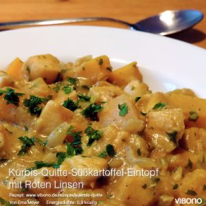 Kürbis-Quitte-Süßkartoffel-Eintopf mit roten Linsen