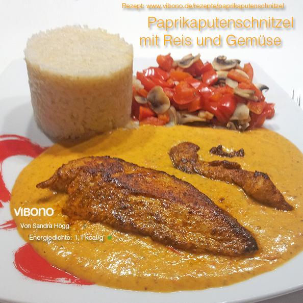 Paprikaputenschnitzel mit Reis und Gemüse