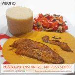 Paprika-Putenschnitzel mit Reis und Gemüse