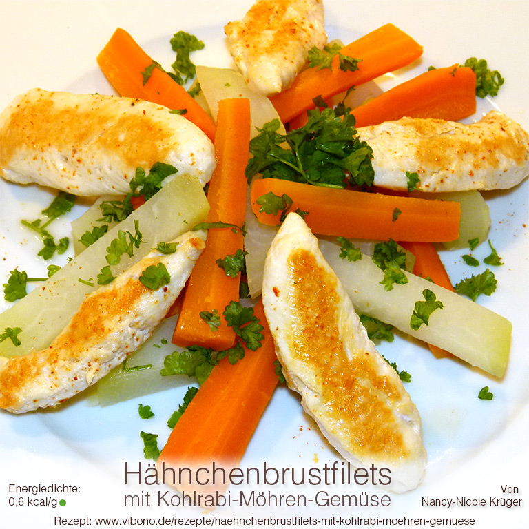 Hähnchenbrustfilets mit Kohlrabi-Möhren-Gemüse