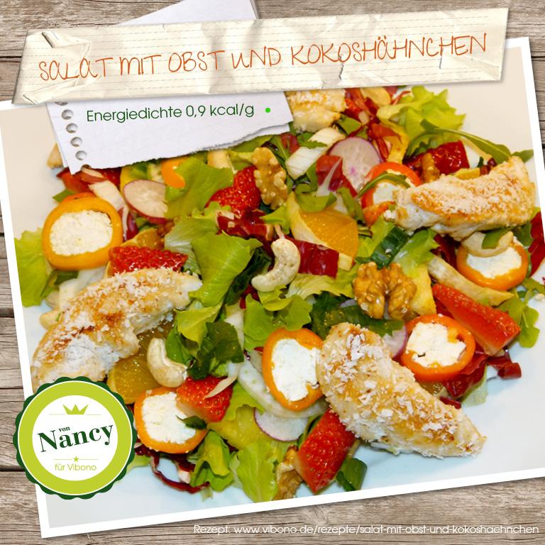 Salat mit Obst und Kokoshähnchen