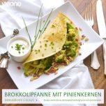 Brokkolipfannkuchen mit Pinienkernen