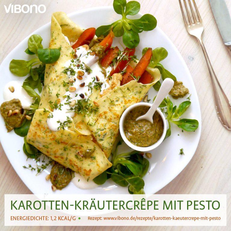Karotten-Kräutercrêpe mit Pesto