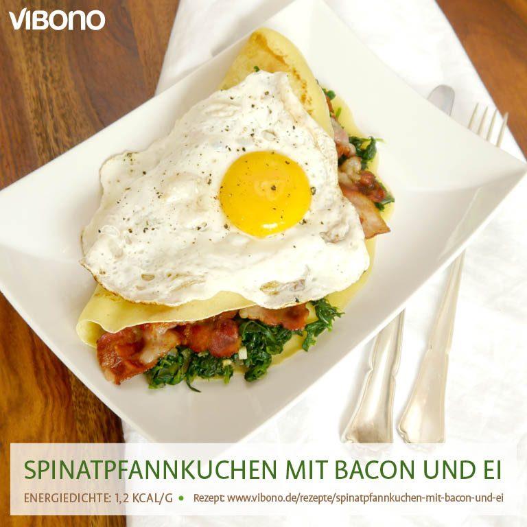 Spinatpfannkuchen mit Bacon und Ei