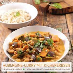 Aubergine-Curry mit Kichererbsen