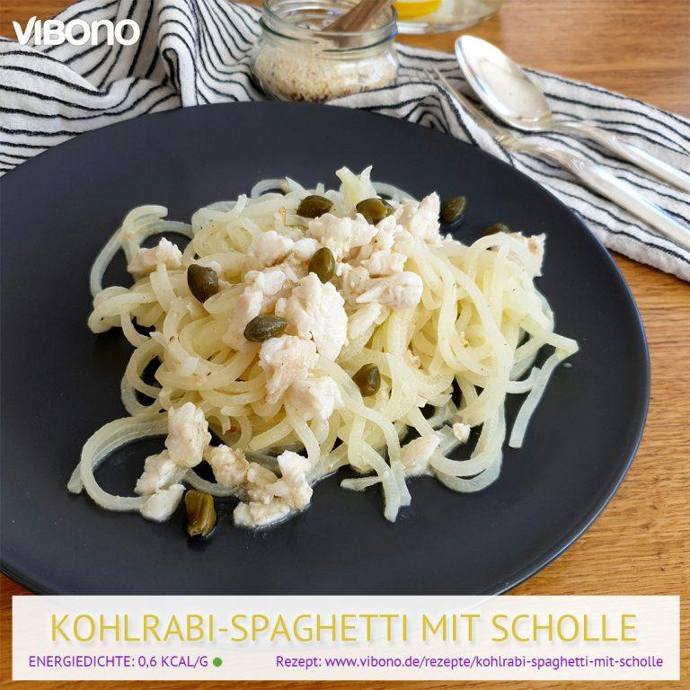 Kohlrabi-Spaghetti mit Scholle