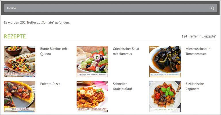 Die Suchfunktion auf der Vibono-Website