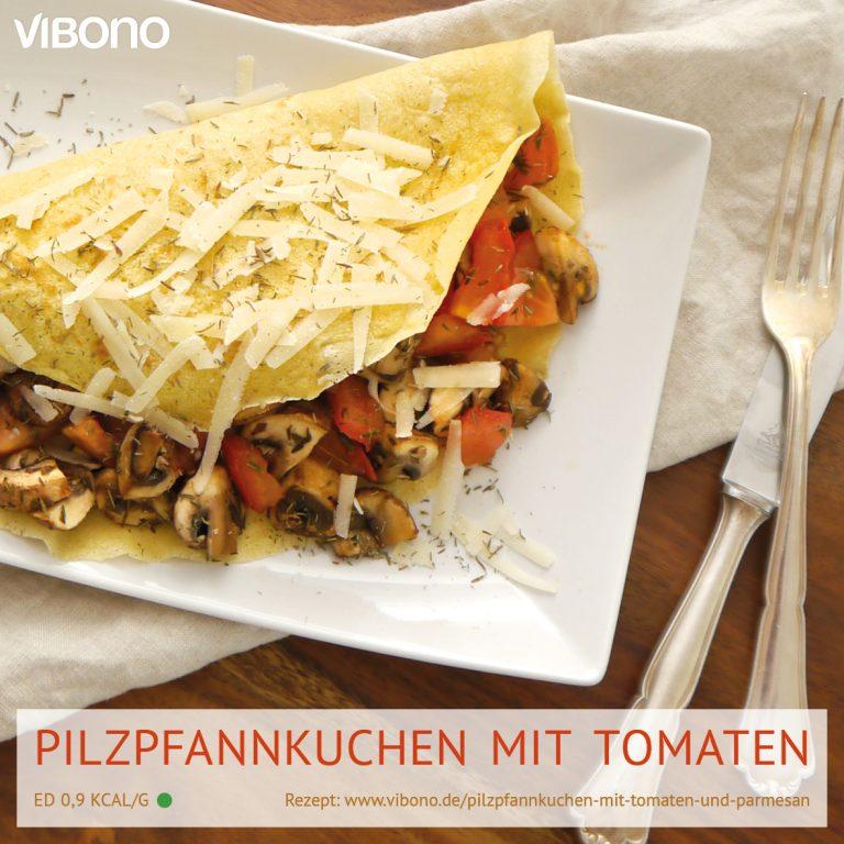 Pilzpfannkuchen mit Tomaten und Parmesan