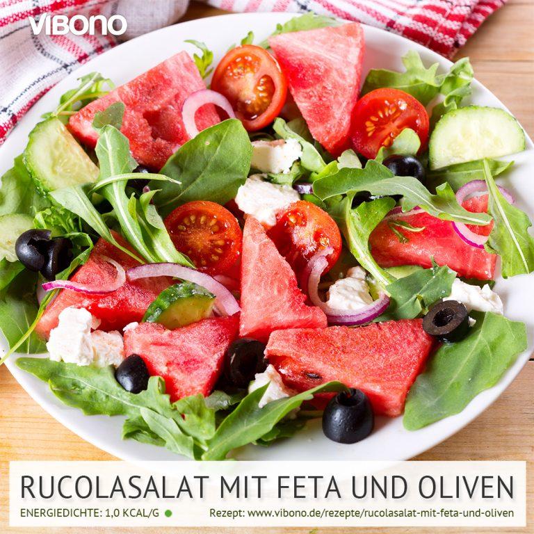 Rucolasalat mit Feta und Oliven